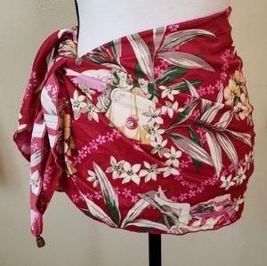 Hawaiian Scooter Themed Floral Sarong Skirt